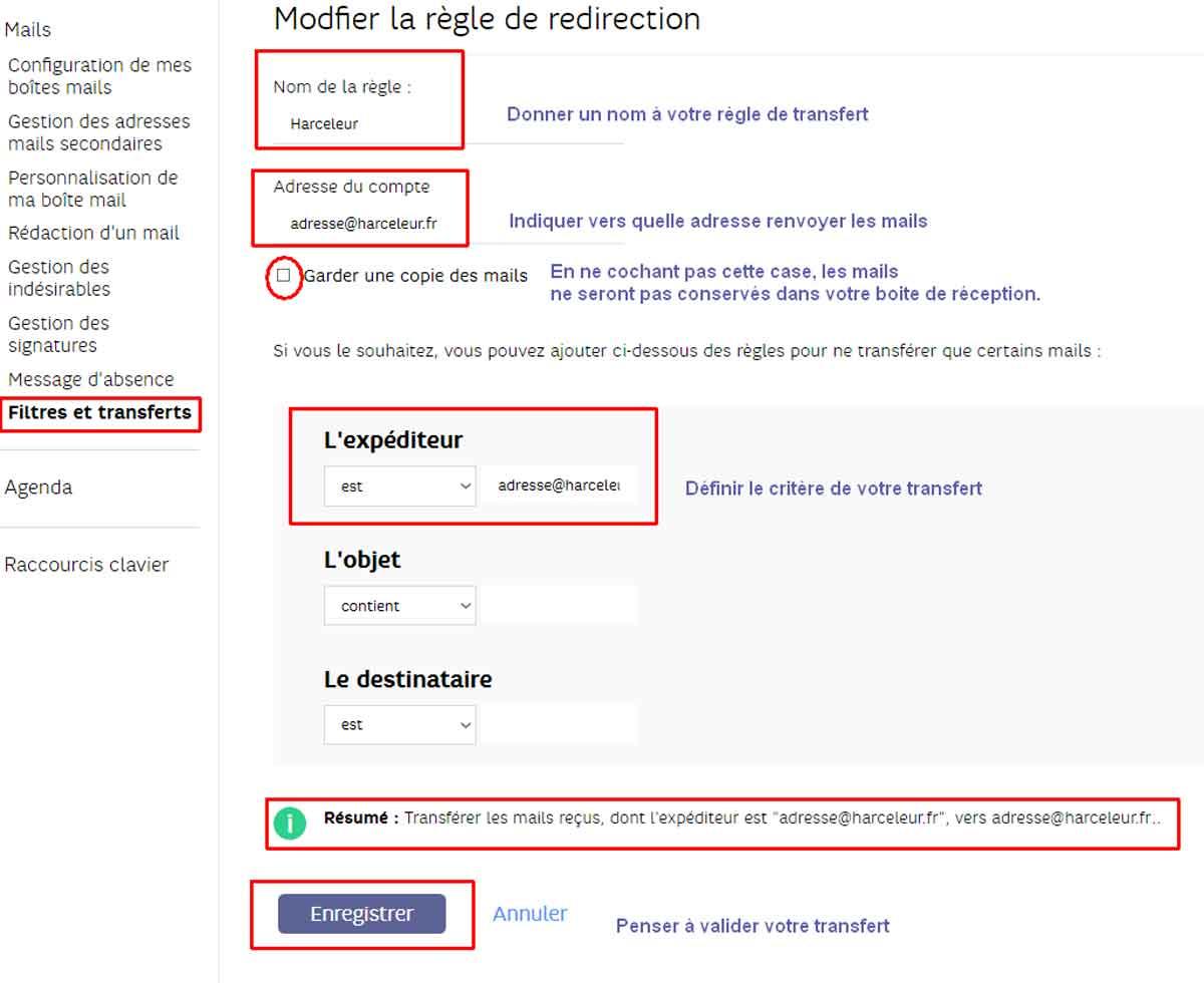 Gérer spam sur SFR mail