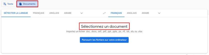 sélectionnez un document google traduction